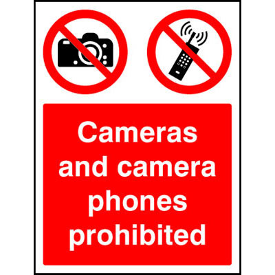 Cameras and camera phones prohibited signs