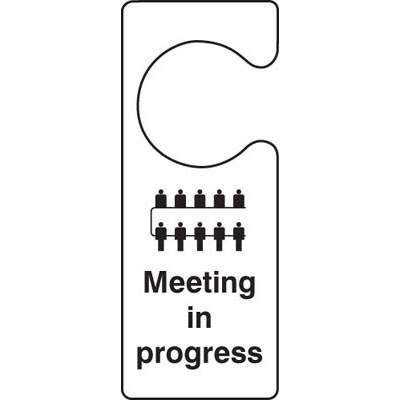 meeting in progress door hanger 55105 proshield safety signs