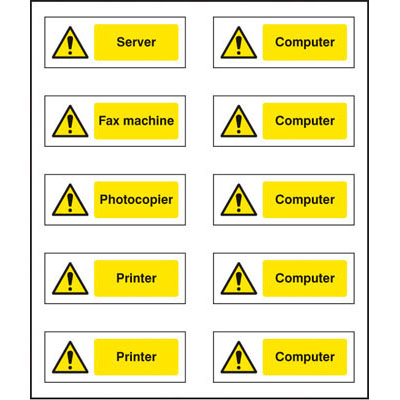 Mixed Appliances Labels 54040 Proshield Safety Signs