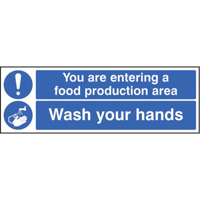 You are entering a food production area please wash your hands signs ...