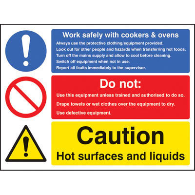 Work safely with cookers and ovens signs - 5625 - Proshield Safety