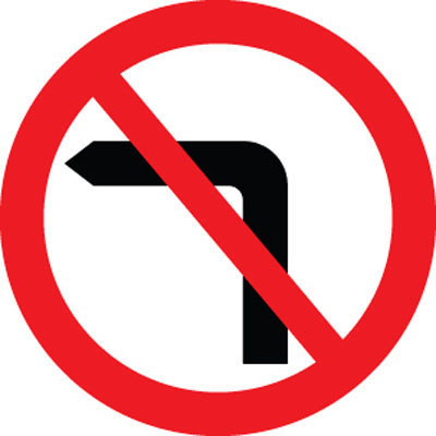Road Signs Images And Meanings >> No left turn road traffic signs RA1 - 56574 - Proshield Safety Signs