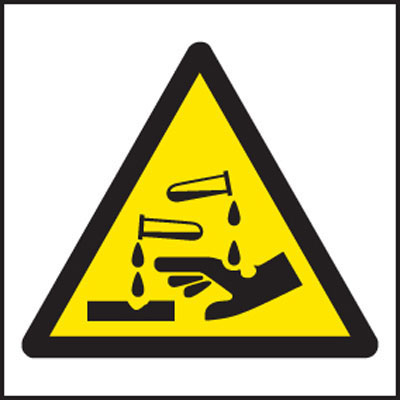 Corrosive Symbol Warning Sign