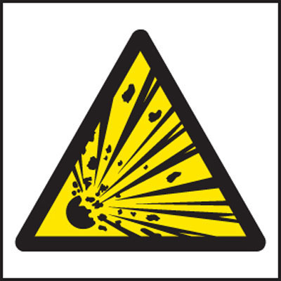Explosive symbol warning sign